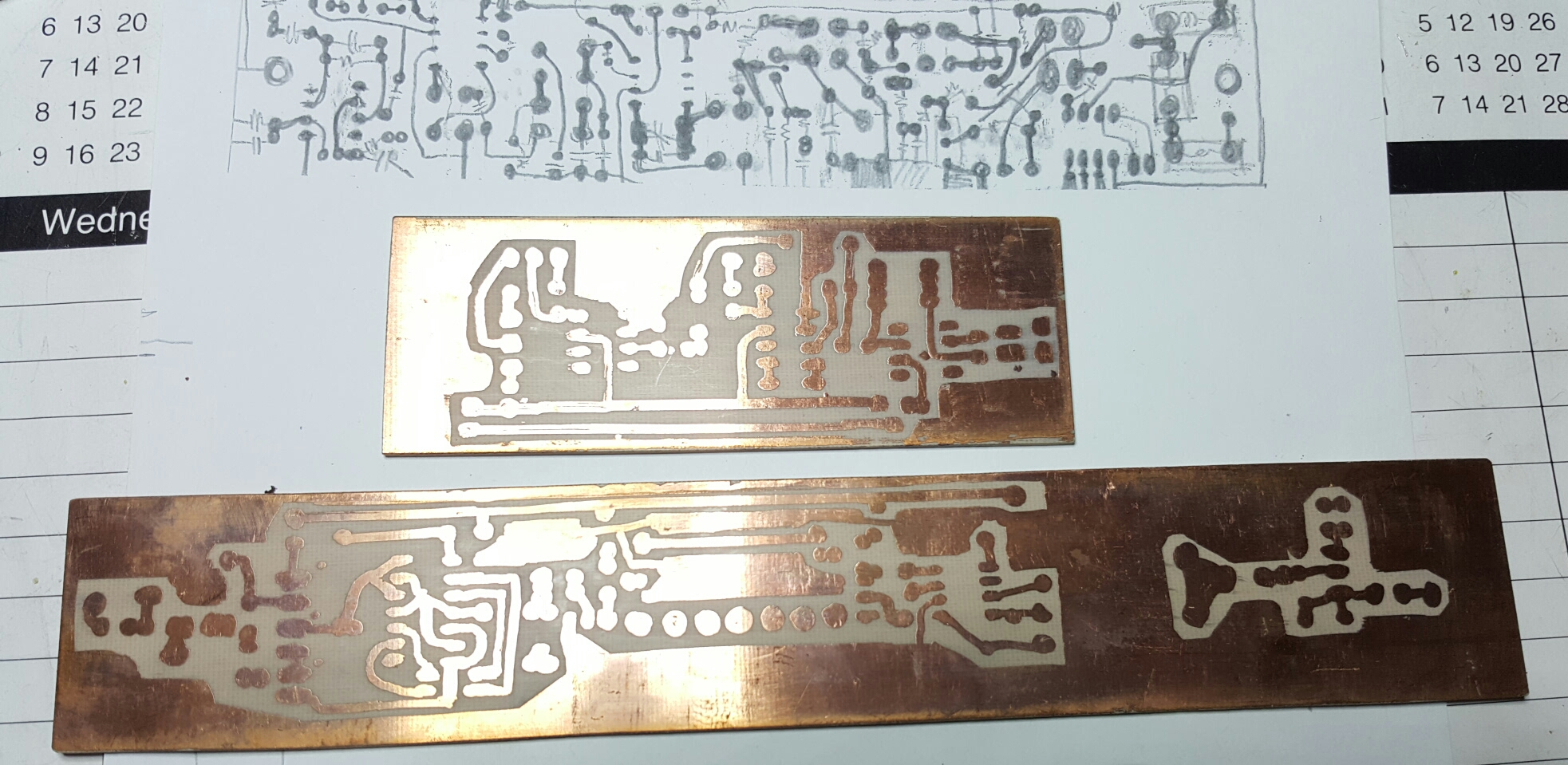 Artisan Printed Circuit Boards Vk3hn How To Make Diy Pcb Basic Audio Sometime In The 1980s I Tried A Copper Side Up Board Dispensing With Drilled Holes Free Hand Drawing On Painting And Etching