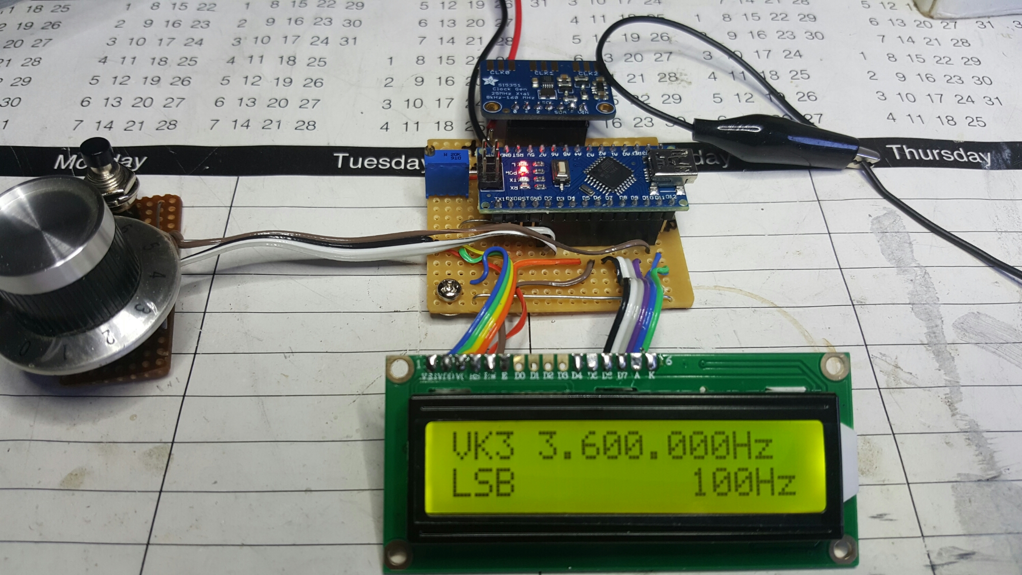 Yet Another Arduino Nano And Si5351 Digital Vfo Bfo Vk3hn S Meter Circuit Diagram The Key To It Is Three Clocks 1 160mhz All Software Controlled In A Tiny 10 Pin Msop Package For Few Dollars