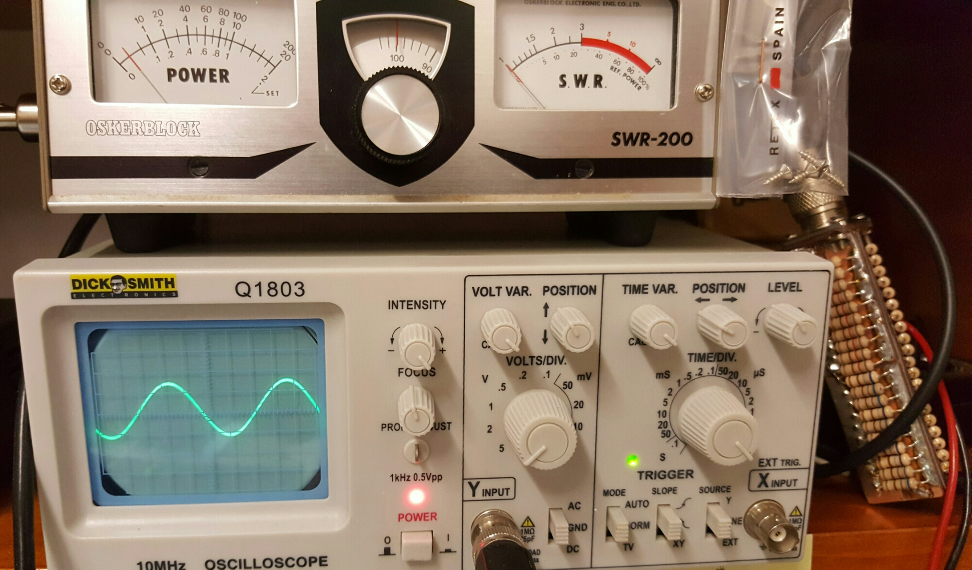 Homebrew 160 Meter Am Cw Transmitter Receiver Vk3hn Mk484 Radio Circuit Design Electronic Project The Trusty Oskerblock Shows A Bit Under 50 Watts Pa Current Was Sitting At 14 Amps On 33v Rail Watt Dummy Load Hot After 3 To 4 Seconds Of